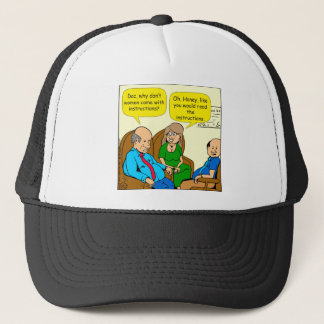 923 read the instructions couples cartoon trucker hat
