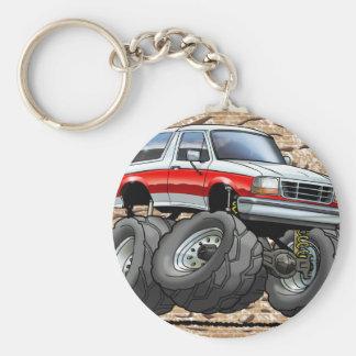 92-96 White R Bronco Basic Round Button Keychain