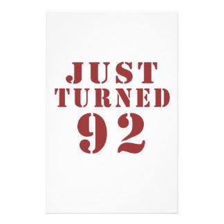 92 Just Turned Birthday Stationery