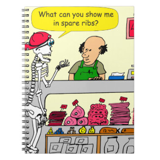 932 Skeleton at butcher and spare ribs cartoon Notebook