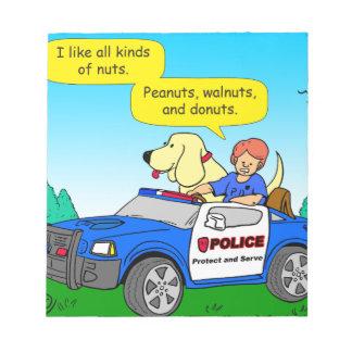 933 police and donut cartoon notepad
