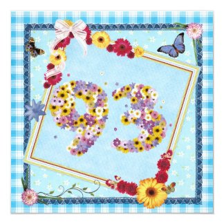93rd Birthday party Invitation flowers,butterflies