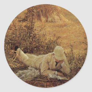 94 Degrees in the Shade, Sir Lawrence Alma Tadema Round Sticker
