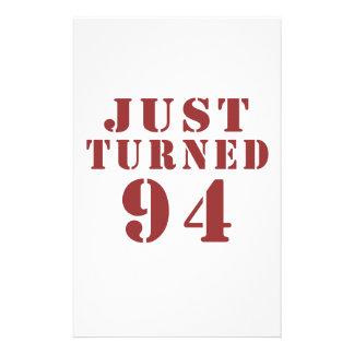 94 Just Turned Birthday Stationery
