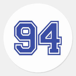 94 - number round sticker