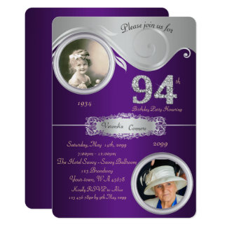 94th,Birthday Man 94th,elegant art deco,purple Card
