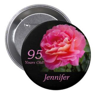95 années, Pin de bouton de rose de rose Macaron Rond 7,6 Cm