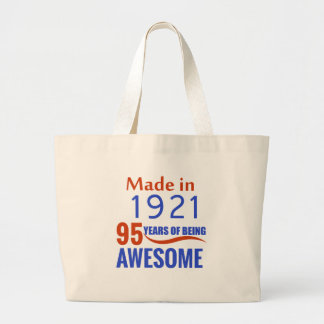 95 birthday design large tote bag
