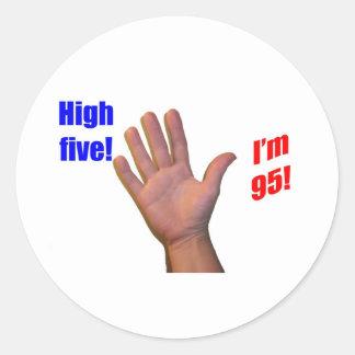 95 High Five Round Sticker