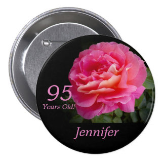 95 Years Old, Pink Rose Button Pin