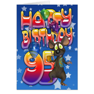 95th Birthday Card cute with little mouse