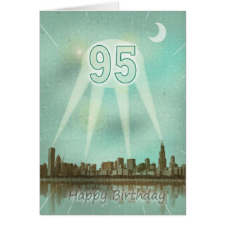 95th Birthday card with a city and spotlights