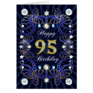 95th birthday card with masses of jewels