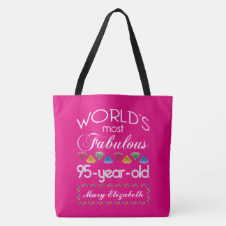 95th Birthday Most Fabulous Colorful Gems Pink Tote Bag