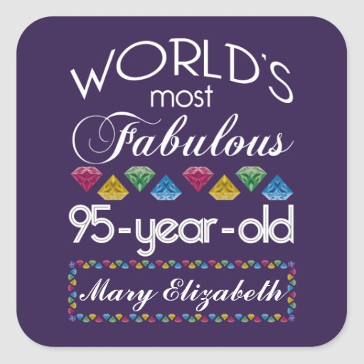 95th Birthday Most Fabulous Colorful Gems Purple Stickers