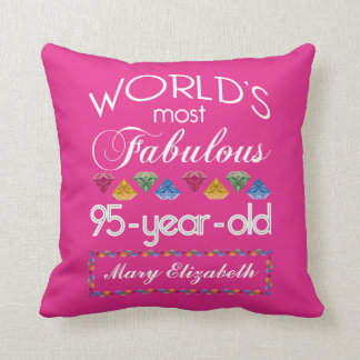 95th Birthday Most Fabulous Colourful Gems Pink Throw Pillow