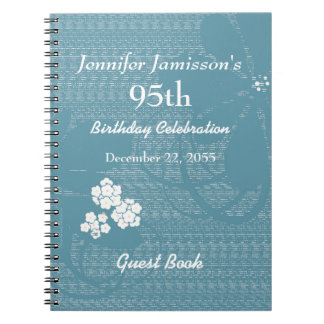 95th Birthday Party Guest Book Blue, White Floral Notebook