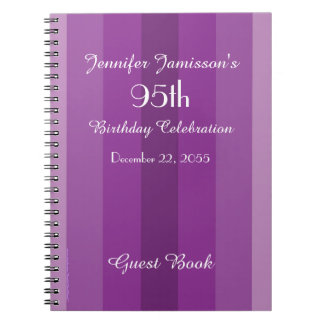 95th Birthday Party Guest Book Purple Stripe Notebook