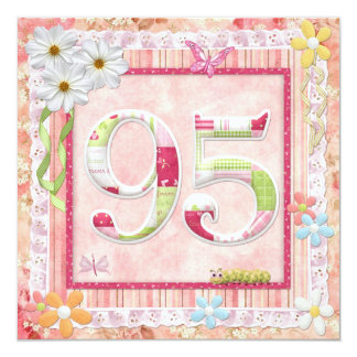 """95th birthday party scrapbooking style 5.25"""" square invitation card"""