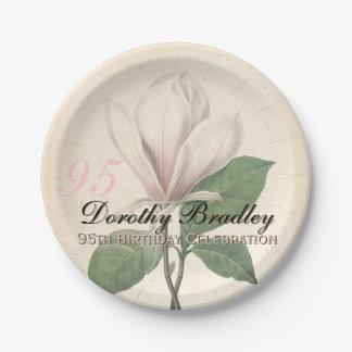 95th Birthday Party  Vintage Magnolia Paper Plates