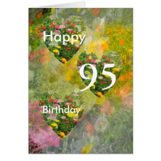 95th Birthday Pretty Green hearts Greeting Card