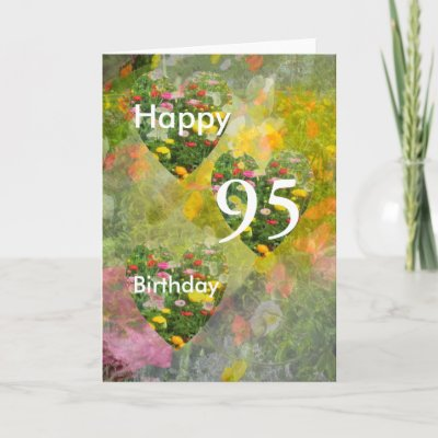 95th Birthday Pretty Green hearts Greeting Cards by lol