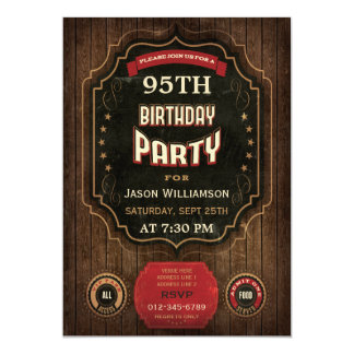 95th Birthday Vintage Chalkboard & Wood Card