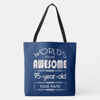 95th Birthday Worlds Best Fabulous Dark Blue Tote Bag