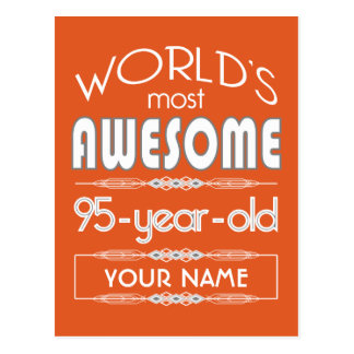 95th Birthday Worlds Best Fabulous Flame Orange Postcard