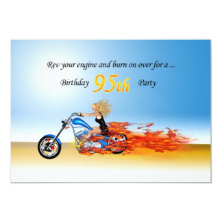 95th birthdayFlaming motorcycle party invitation