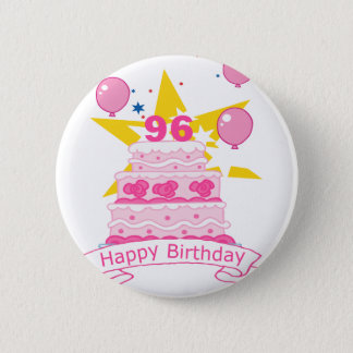 96 Year Old Birthday Cake 2 Inch Round Button