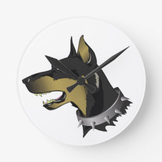96Angry Dog _rasterized Round Clock