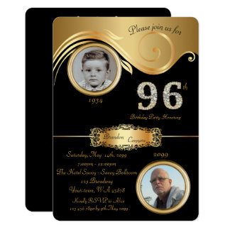 96th,Birthday Man 96th,elegant art deco,black Card