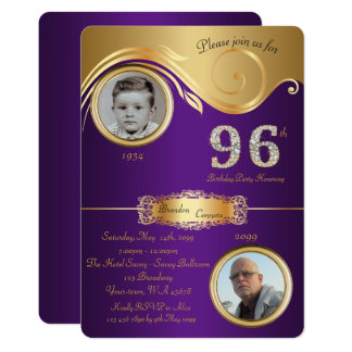 96th,Birthday Man 96th,elegant art deco,purple Card