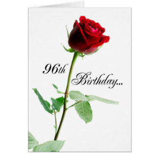 96th Birthday Red Rose Card