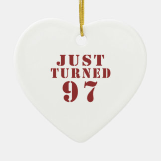 97 Just Turned Birthday Ceramic Heart Ornament
