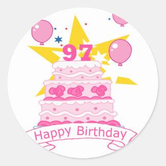 97 Year Old Birthday Cake Round Sticker