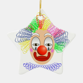 97Clown Head_rasterized Ceramic Ornament