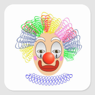 97Clown Head_rasterized Square Sticker