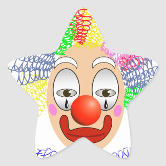 97Clown Head_rasterized Star Sticker