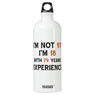 97th birthday designs water bottle