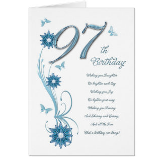 97th birthday in teal with flowers and butterfly card
