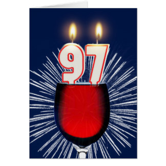 97th Birthday with wine and candles Card