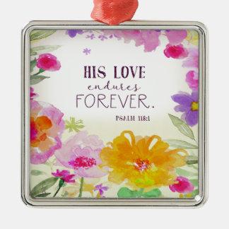 982.his love endures forever metal ornament