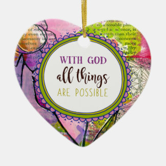 986.with God all things are possible Ceramic Ornament