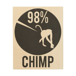 98% chimp wood print