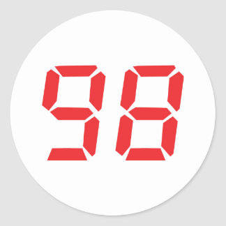 98 ninety-eight red alarm clock digital number classic round sticker