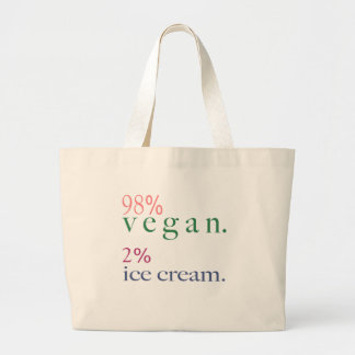 98% Vegan 2% Ice Cream Large Tote Bag