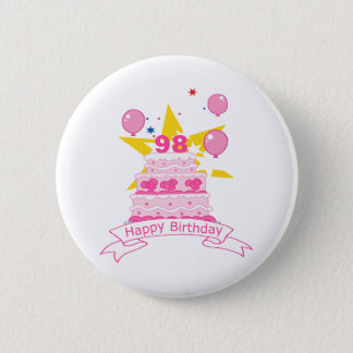 98 Year Old Birthday Cake 2 Inch Round Button