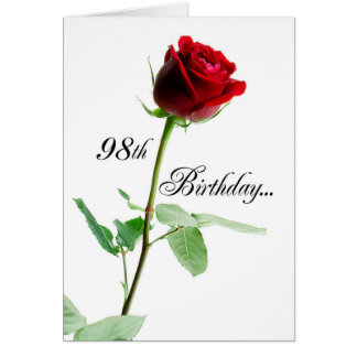 98th Birthday Red Rose Card